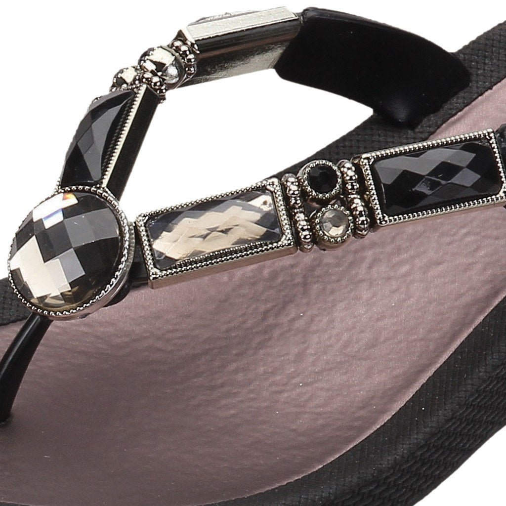 Grandco Sandals Bamboo Wedge 26255E - Close up of Black Sole