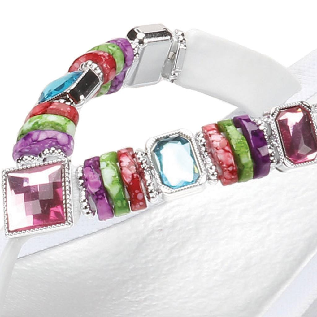 Grandco Sandals Rainbow Wedge 26462E - Close Up of beading