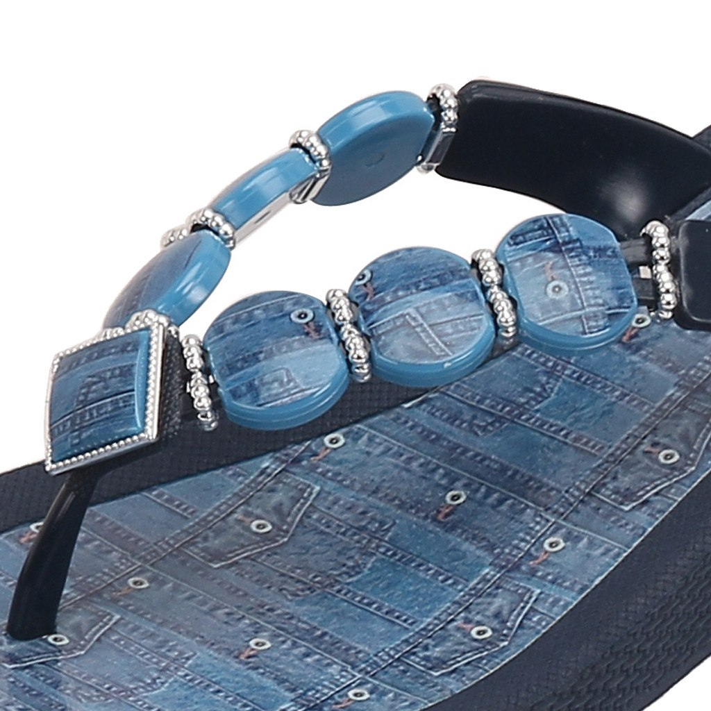 Grandco Sandals Denim Wedge 27360D - Close up of Beaded Strap