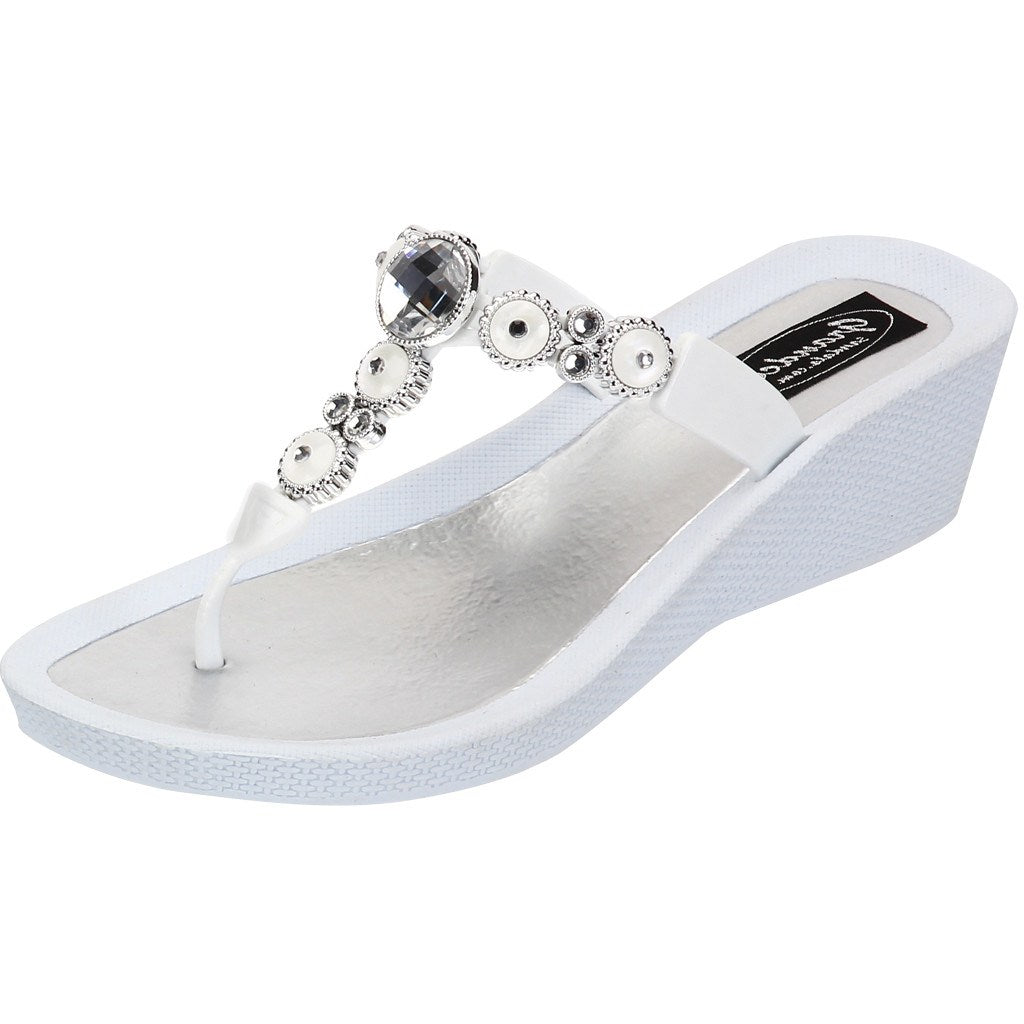 Grandco Sandals 27453 - Round Pearl Wedge White Sole