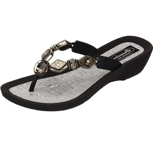 Grandco Sandals - Colored Diamond Pearl 27460 - Black Sole