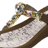 Grandco Sandals 27498 - Color Daisy Wedge Brown Close Up