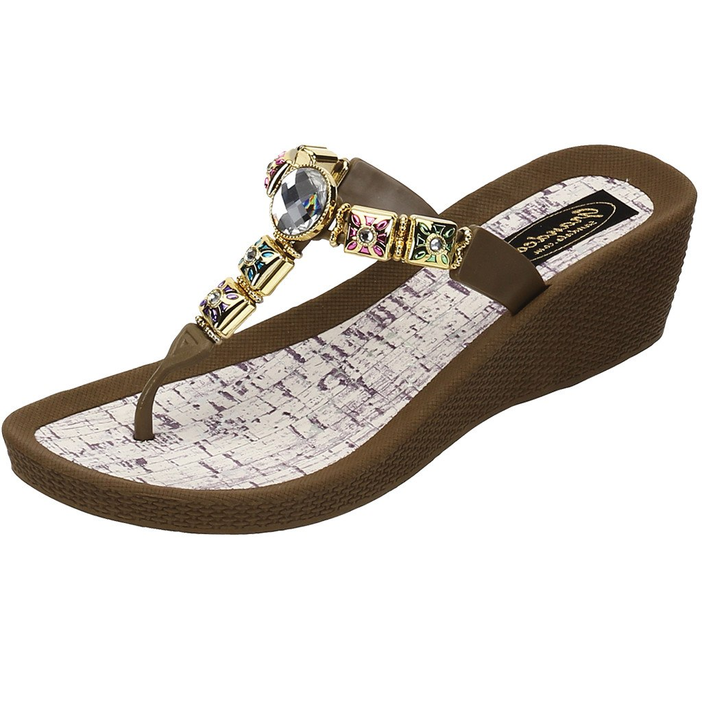 Grandco Sandals 27498 - Color Daisy Wedge Brown