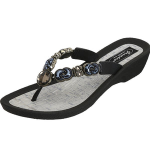 Grandco Sandals - Lunar 27685 in Black Jeweled Sandal