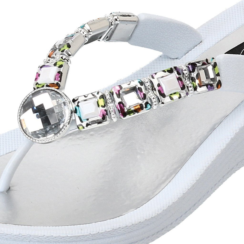 Grandco Sandals 27691 - White jeweled sandals close up