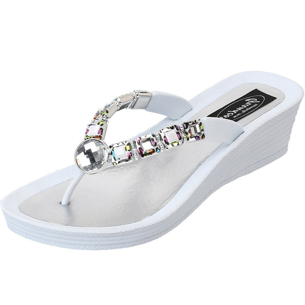 Grandco Sandals 27691 - White jeweled sandals