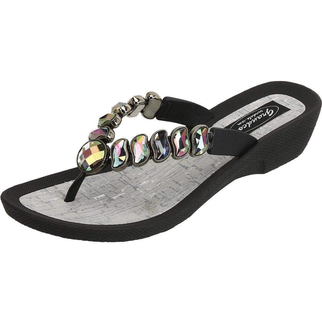 Grandco Sandals - Wave 27712 Black Jeweled Sandals