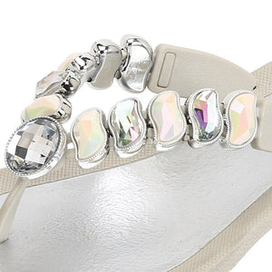 Grandco Sandals - Wave 27712 Close up Cream Jeweled Sandals