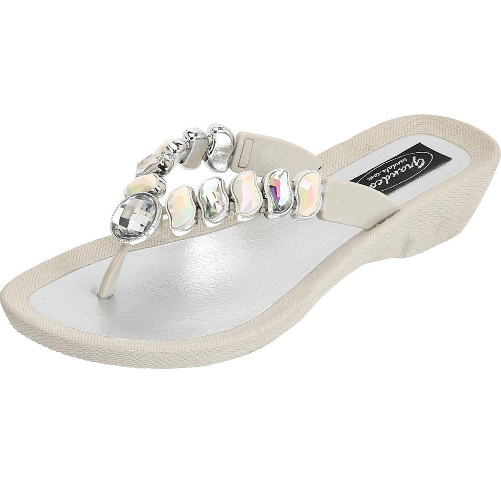Grandco Sandals - Wave 27712 Cream Jeweled Sandals