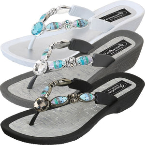Grandco Sandal Bahamas 27760 - Beaded Sandals in Black, White or Gray