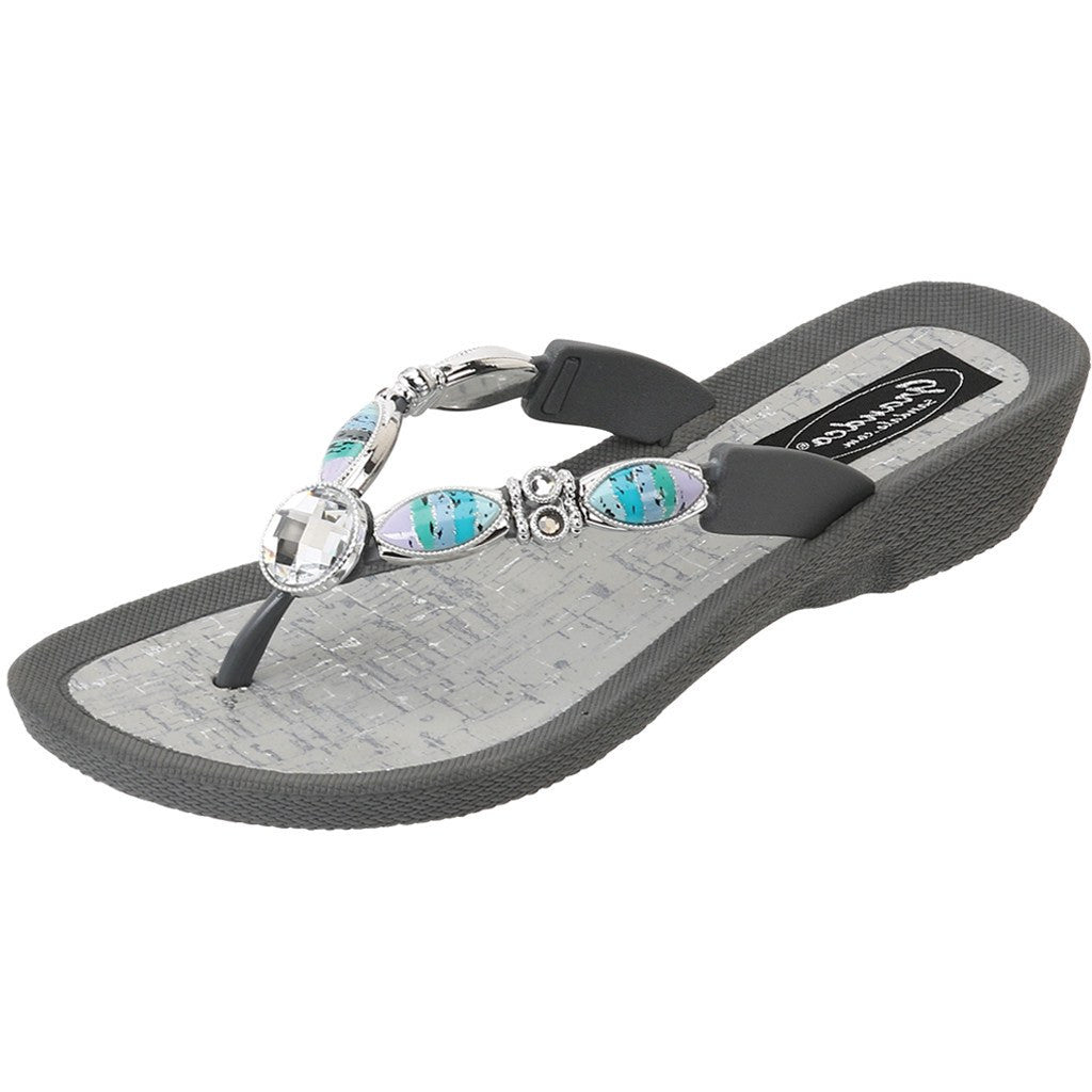 27760 - Beaded Sandals in Gray