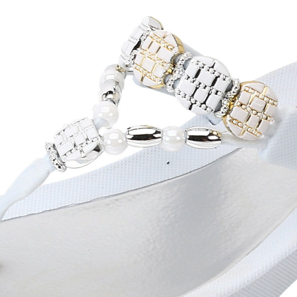 Grandco Sandals Frosted 27901 - Beaded Sandals close up in White