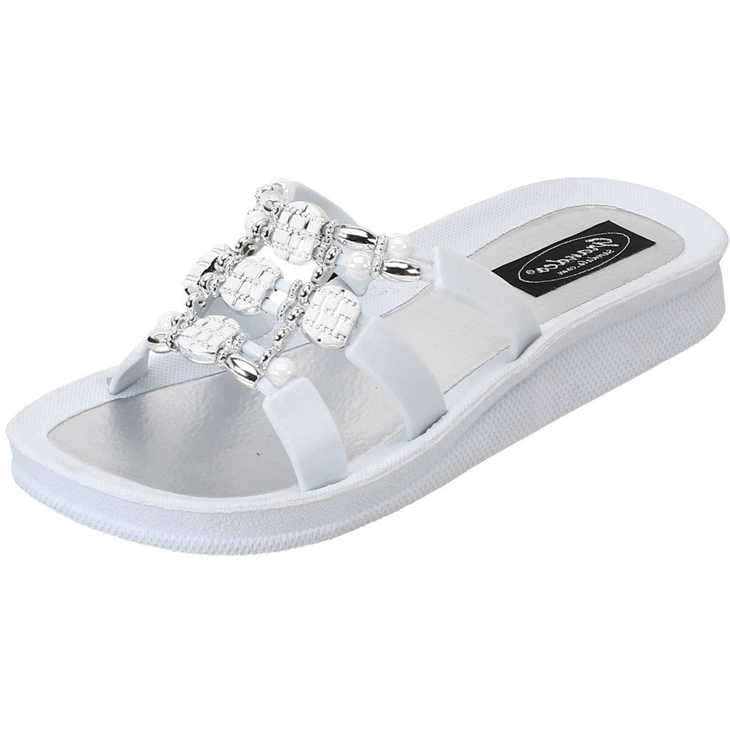 Grandco Sandals - Beaded Sandals in White