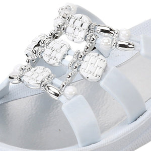 Grandco Sandals - Beaded Sandals in Close up of White