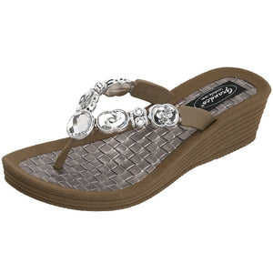 Grandco Sandals - Crescent 27904 Jeweled Sandals in Brown
