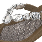 Grandco Sandals - Crescent 27904 Close Up Jeweled Sandals in Brown