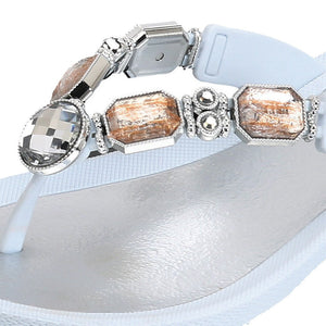 Grandco Sandals - Jeweled Sandals in Close up White