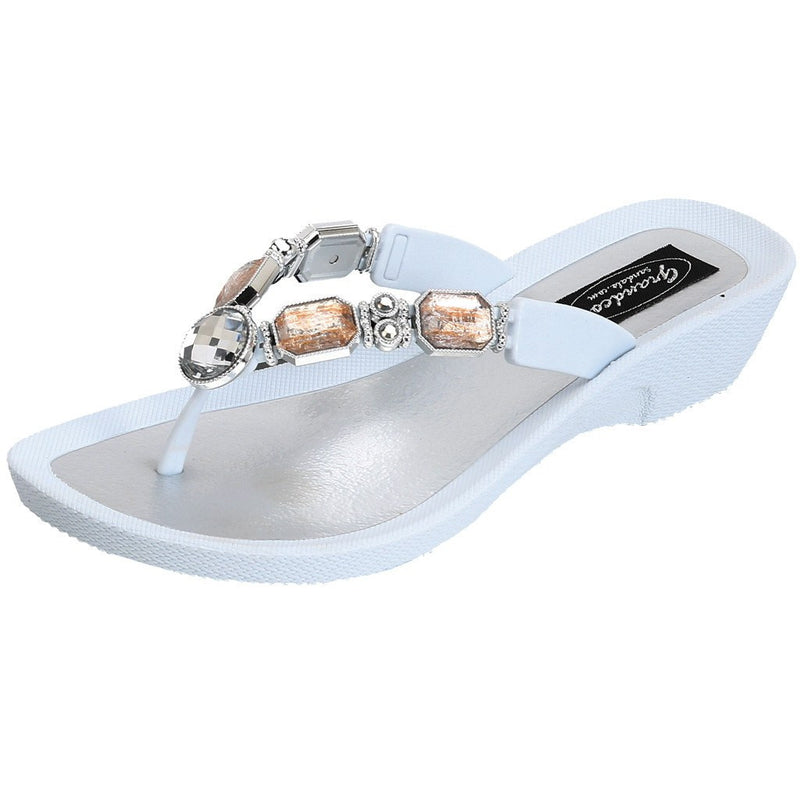 Grandco Sandals - Jeweled Sandals in White