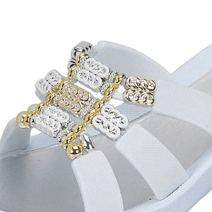 grandco sandals - aries wedge 27985 - close up white