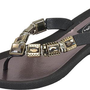 Grandco Sandals - Celeste V 27991E Close up of Black Jeweled Sandals