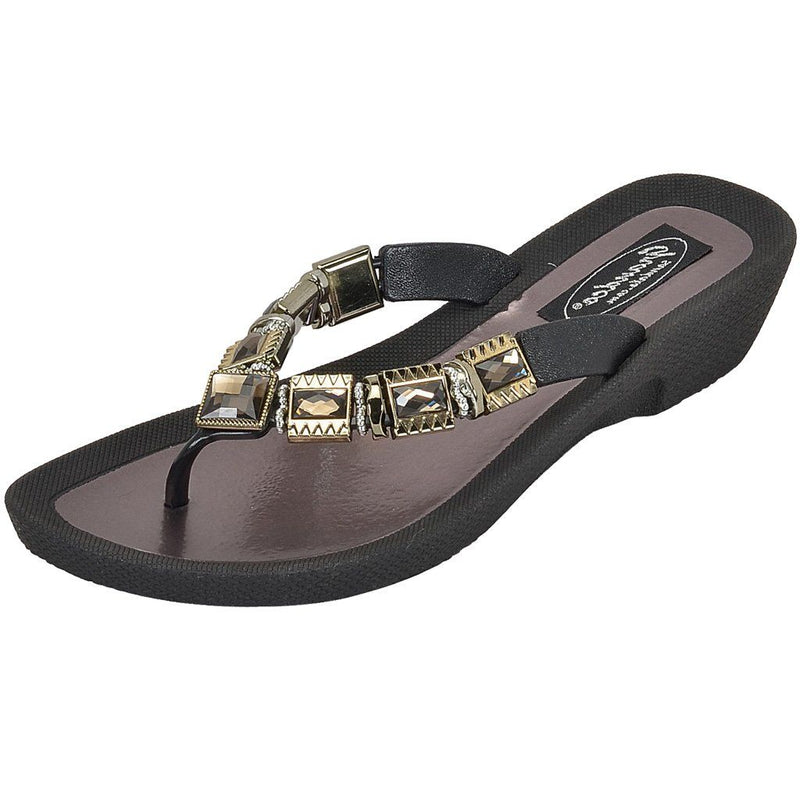 Grandco Sandals - Celeste V 27991E Black and White Jeweled Sandals