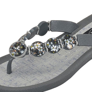 Grandco Sandals - Hibiscus V Thong - 28104 Grey Close Up