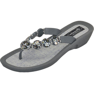Grandco Sandals - Hibiscus V Thong - 28104 Grey