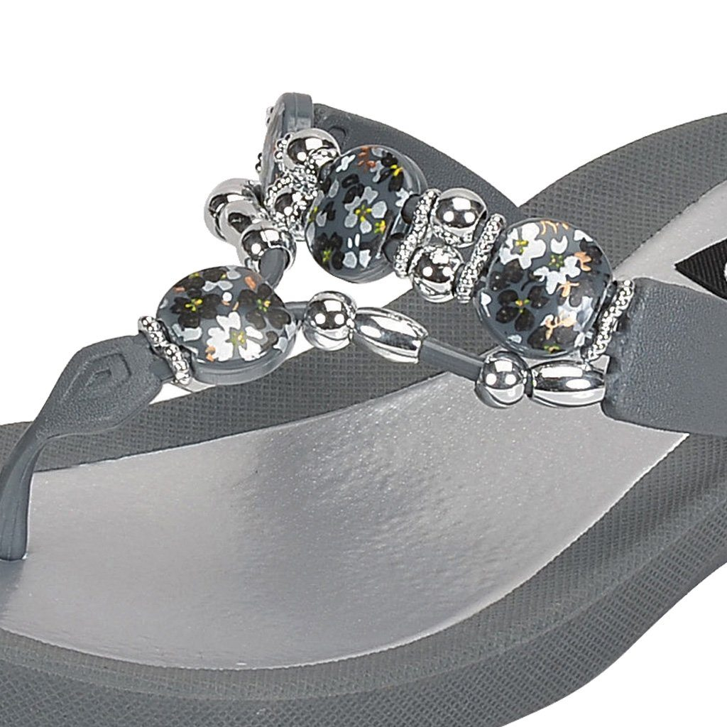Grandco Sandals - Hibiscus Thong 28105 Grey Close Up