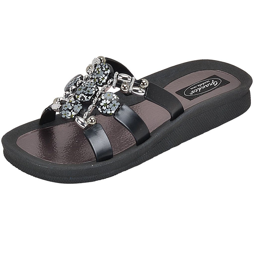 Grandco Sandals - Hibiscus Slide 28106 - Black