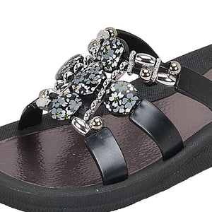 Grandco Sandals - Hibiscus Slide 28106 Black Close Up