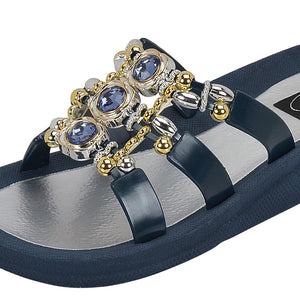 Grandco Sandals - Orion Slide 28212 Navy Close Up