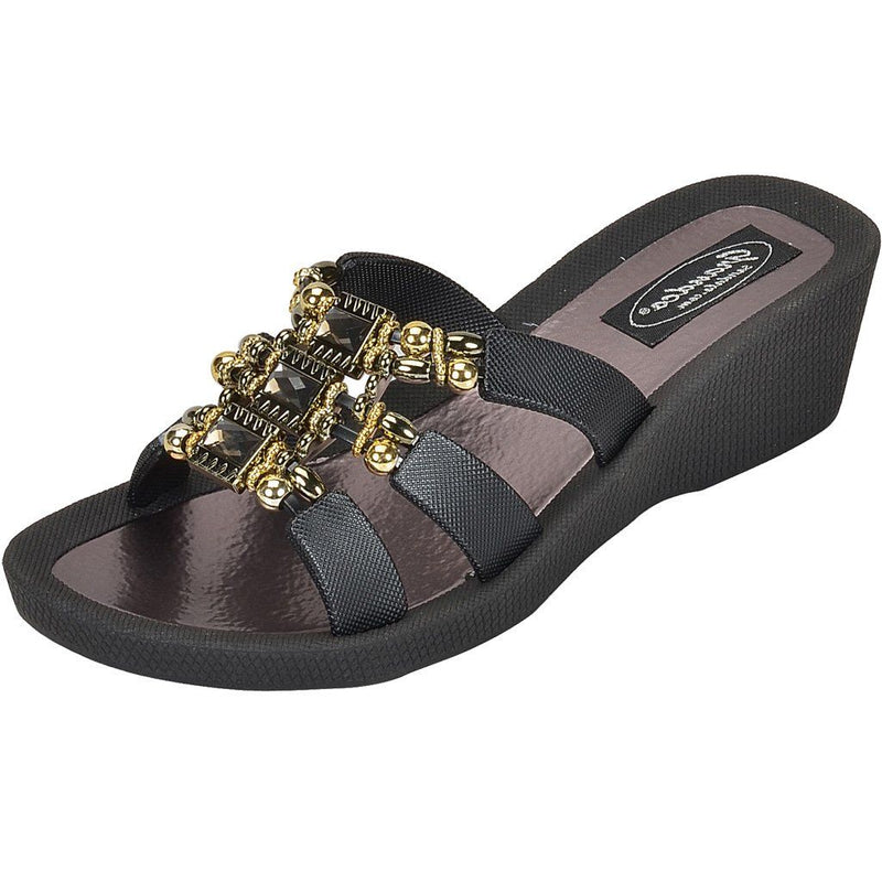 Grandco Sandals - Celeste Wedge 28213 - Grey Close Up