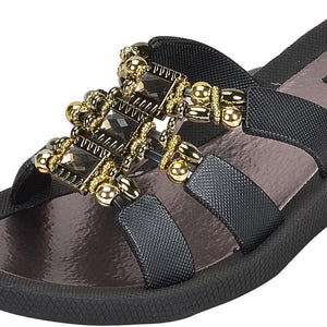 Grandco Sandals - Celeste Wedge 28213 - Black Close Up