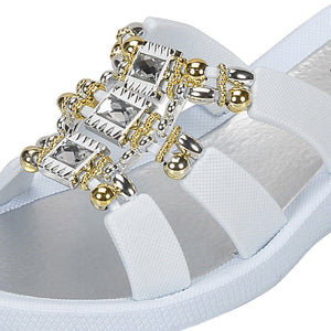 Grandco Sandals - Celeste Wedge 28213 - White Close Up