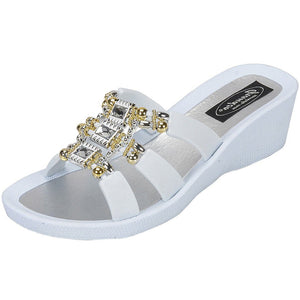 Grandco Sandals - Celeste Wedge 28213 - White