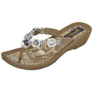 Grandco Sandals Viper 28214 -  Khaki Jeweled Sandals