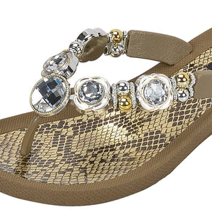 Grandco Sandals Viper 28214 - Khaki Close Up Jeweled Sandals