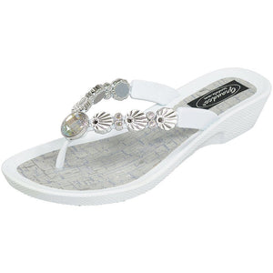 Grandco Sandals - 28257 Sea Shell V-Thong - White