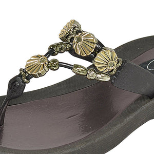 Grandco Sandals Sea Shell 28259 - Black Close Up