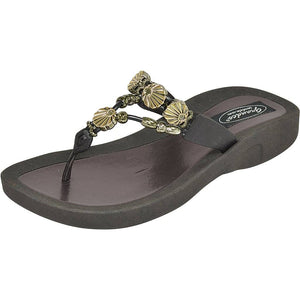Grandco Sandals Sea Shell 28259 - Black Sole Sandals