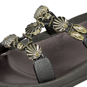 Grandco Sandals 28262 - Close Up Black Slide Sandals