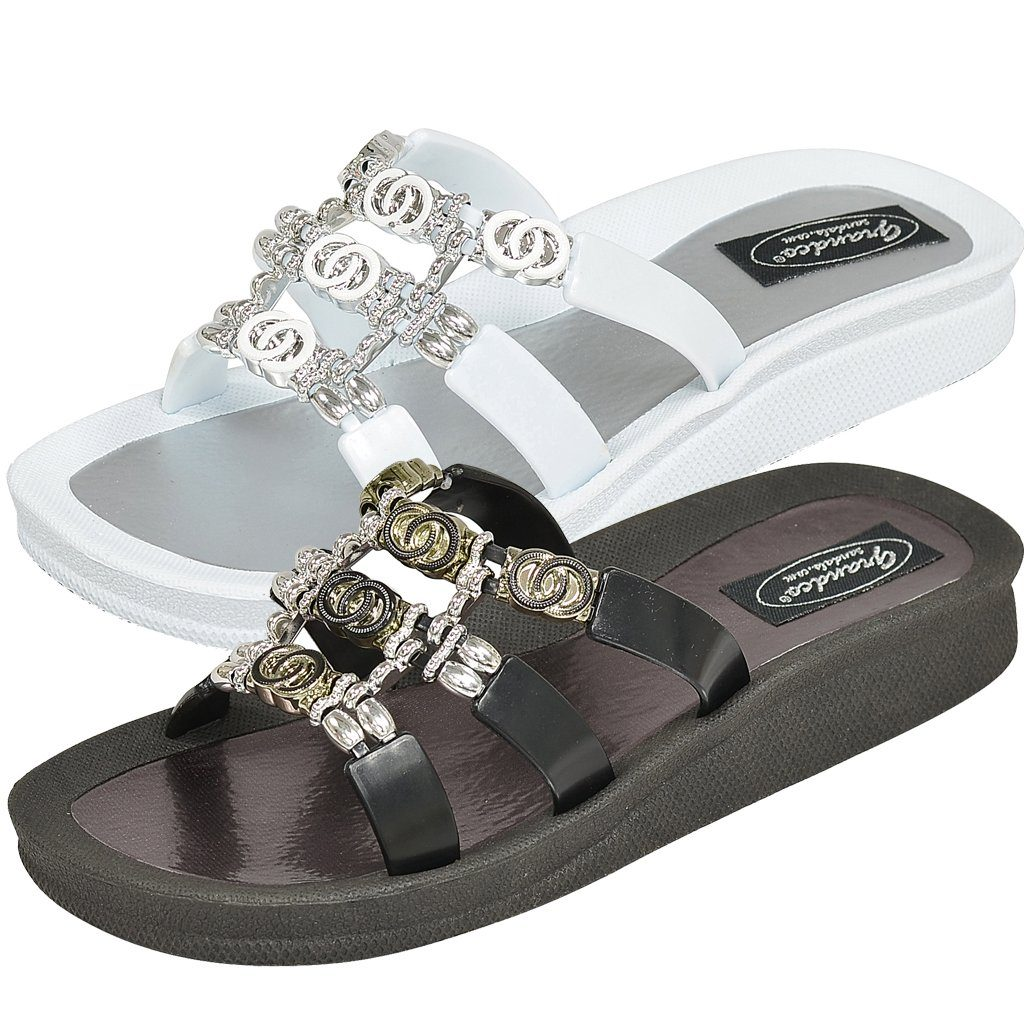Grandco Sandals 28272 Link Ring Slide - Black & White