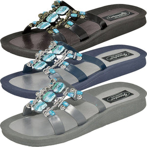 Grandco Sandals 28444 - Slide sandals in black, blue and grey