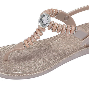 Grandco Sandals - Pebbles T-Strap 28522 Close Up Champagne