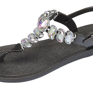 Grandco Sandals 28525 - Wave T-Strap Black Close Up