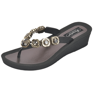 Grandco Sandals 28012 Orion Wedge. Shown in the Black Sole Version