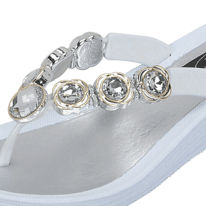 Grandco Sandals 28012 Orion Wedge. Close up of Jeweled beading on strap of White Sole Sandals