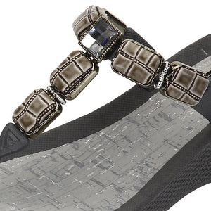 Grandco Sandals 27451 - Cayman Wedge Gray Up close