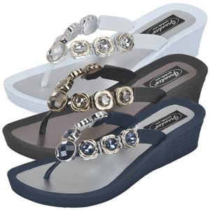 Grandco Sandals 28012 Orion Wedge in Black, blue & white
