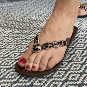 Grandco Sandals - Leopard Print Style 28636, With A black or brown 1' Sole - Shown on Foot